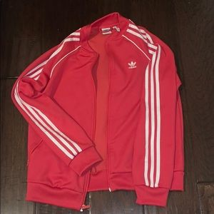 Adidas red and white three stripes track jacket